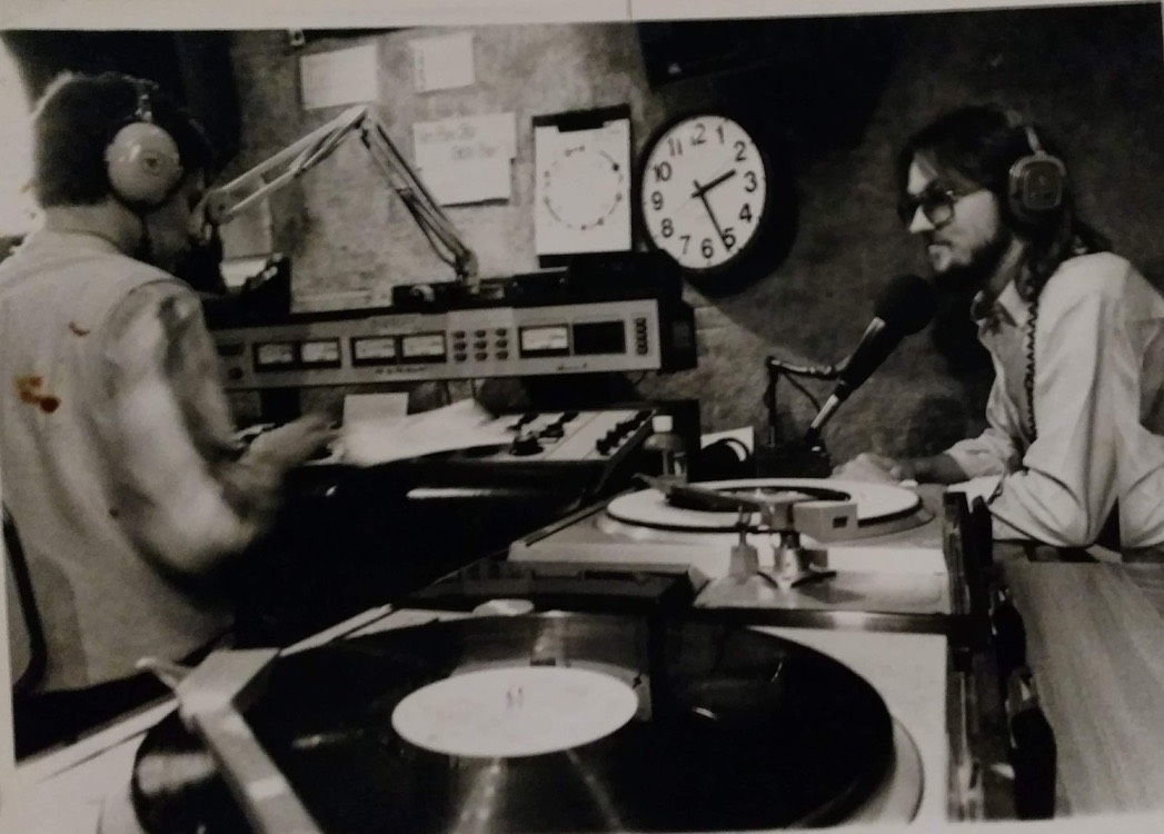 Roger Gaither and Steve Casey in the Q104 control room